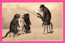 Anthropomorphisme - Singe Qui Fait La Lecture Aux Chats Avec Baguette - Poezen - 1902 - Relief - Freiburg à Hildesheim - Monos