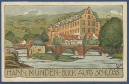Hann.-Münden Blick Auf Das Schloß, Gelaufen 1925 (AK624) - Hannoversch Muenden