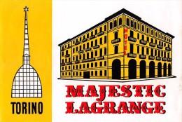"02307 ""TORINO - HOTEL MAJESTIC LAGRANGE"" ETIC. ORIG. - LUGGAGE LABEL - Hotel Labels"