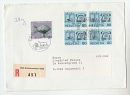 1989 REGISTERED Schwarzenbach SWITZERLAND COVER Stamps  4x TELEPHONE  1x Pro Patria Stamps Telecom - Telecom