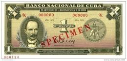 1975 - 1 PESO SPECIMEN SCARCE  UNCIRCULATED XV ANIV. DE LA NACIONALIZACION DE LA BANCA - Cuba