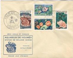 Nouvelle Caledonie FDC Enveloppe Premier Jour Speciale Aquarium Noumea Rascasse Corail Anemone Poisson Lagon 59 TB - Briefe U. Dokumente