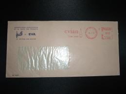 LETTRE EMA T 3720 à 050 Du 10 4 72 EVIAN LES BAINS (74 HAUTE-SAVOIE) EVIAN L'EAU VRAIE + BOUTEILLE - Bibite