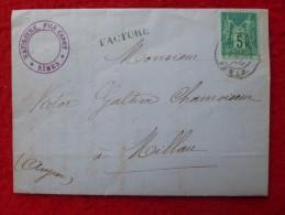 TYPE SAGE FACTURE NIMES DROGUERIE SAUSSINE 1881 - Marcofilia (sobres)