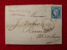CERES MONTREJEAU GC 2510 LETTRE 1872 - Postmark Collection (Covers)