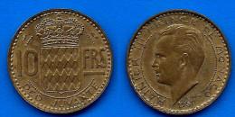 Monaco 10 Francs 1951 Frcs Frc Franc Cents Centimes Rainier Skrill Paypal Bitcoin OK - 1922-1949 Louis II