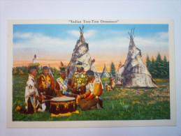 INDIAN  TOM-TOM  DRUMMERS  -  Carte Couleur   - Etats-Unis