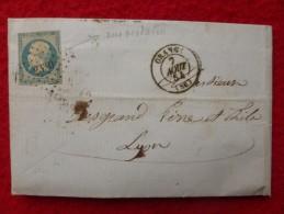 NAPOLEON VARIETE COULEUR VERDATRE PC 2330 LETTRE 1854 - Marcophilie (Lettres)