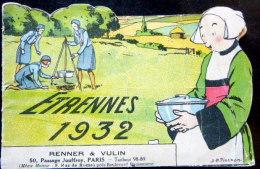 BECASSINE RARE CATALOGUE D\\´ETRENNES 1932 DES EDITIONS GAUTIER LANGUEREAU DECOUPE EN FORME DE PAYSAGE CHAMPETRE - Otros Autores