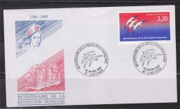 = Bicentenaire De La Révolution Française 87 Limoges 1.1.89 N°2560 Logotype De J.M. Folon Liberté Egalité Fraternité - 1990-1999