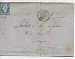 Napoléon III : 14A Type I Sur Lettre. Albi/Espalion - 1853-1860 Napoléon III.