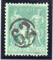 N° 75 . TYPE SAGE . OBL . JOUR DE L´AN . N° 62 DANS UN CERCLE . - 1877-1920: Semi Modern Period