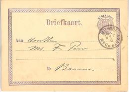 9 Januari 1878  Bk G3 Van Amsterdam Naar Baarn - Postal Stationery