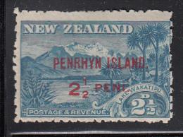Penrhyn Island MH Scott #8 SG #1 Penrhyrn Island Overprint On NZ 2 1/2p Lake Wakatipu - Penrhyn