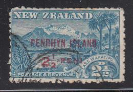 Penrhyn Island Used Scott #8 SG #1 Penrhyrn Island Overprint On NZ 2 1/2p Lake Wakatipu - Penrhyn