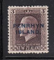 Penrhyn Island MH Scott #22 SG #25 Penrhyrn Island Overprint On NZ 3p George V - Penrhyn