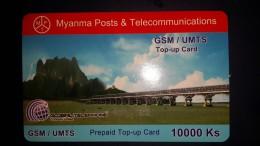 Myanmar-myanma Posts A Telecommunications-g.s.m/umts-10.000ks-used+1.card Prepiad Free - Myanmar