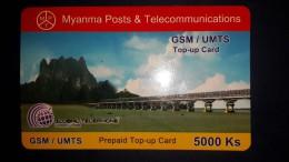 Myanmar-myanma Posts A Telecommunications-g.s.m/umts-5000ks-used+1 Card  Prepiad Free