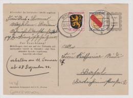 Heimat DE BW WYHLEN 1946-12-28 45 Pf. Frankatur Im Grenzrayon - Zone Française