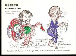 CARTOLINA MEXICO MESSICO 86 MUNDIAL BEARZOT PLATINI ANNULLO SPECIALE CASTGLION DELLA PESCAIA  CALCIO E FRANCOBOLLI - Coupe Du Monde