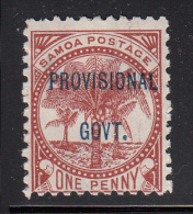 Samoa MH Scott #32 SG #91 Provisional Govt Overprint On 1p Palms, Red Brown - Samoa