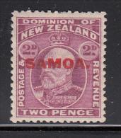 Samoa MH Scott #116 SG #117 Samoa Overprint On NZ 2p Edward VII - Toning - Samoa
