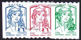 France Marianne De Ciappa Et Kawena Autoadhésif N°  862 à 864 ** Roulettes Les 20 Grammes Verte; Rouge & Bleu - 2013-... Marianne Of Ciappa-Kawena