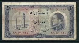 Banconote PERSIA PERSE PERSIEN PERSAN PERSIAN Iran 1954 MOHAMMAD REZA SHAH 10 RI USED - Irán