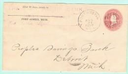 OM1. USA Entier Postal  Port Austin 29 AUG 1900. Verso = Detroit