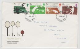 Grossbritannien XX003 // Sport 1977 (Tennis, Tischtennis), FDC - 1971-1980 Dezimalausgaben