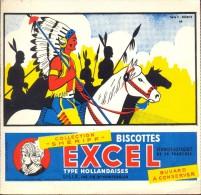 Buvard Vloeipapier Reclame Biscottes Excel Lille - Collection Shériff - Indien Indiaan - Sucreries & Gâteaux