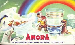 Buvard Vloeipapier Reclame Moutarde De Dijon Amora - Eskimo - Moutardes