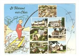CPA Fantaisie 18 SAINT FLORENT SUR CHER Multivues ( 7 ) Ici L'on Pêche : Illustration Pêcheur - Saint-Florent-sur-Cher