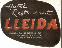 ETIQUETA DE HOTEL LLEIDA DE ANDORRA LA VELLA - ANDORRA - Hotel Labels
