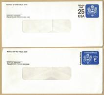 AG264      USA : 1982-1988 - Lotto Di 2 Interi Postali - Official Mail - Bureau Of Public Debt - Interi Postali