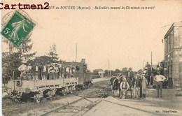 GARE DE GRES-EN-BOUERE BALLASTIERE MENANT LES CHEMINOTS AU TRAVAIL TRAIN LOCOMOTIVE GARE - France