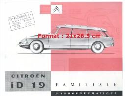 Publicité Citroen ID 19 Familiale Hydropneumatique + Fiche Technique - Publicité