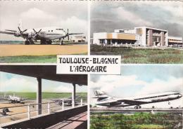 CPSM Dentelée (31)  TOULOUSE BLAGNAC L' Aéerogare Aéroport Aviation Avion Fly Caravelle Au Décollage - Toulouse