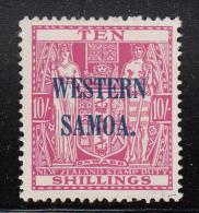 Western Samoa MH Scott #177 SG #191 Western Samoa Overprint On NZ 10sh Coat Of Arms - Wmk NZ, Star - Samoa