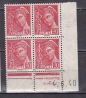 N° 412 Type Mercure 30c Rouge : Bloc De 4 Timbres Coins Datés 4.6.40 Timbres Neuf Sans Charnière - Dated Corners