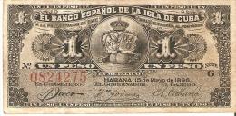 BILLETE DEL BANCO ESPAÑOL EN CUBA DE 1 PESO DEL AÑO 1896 SIN SELLO PLATA (BANKNOTE) - Cuba