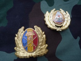2 Insignes De Coiffure ROUMANIE Période Communiste - Militair
