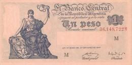 BILLETE DE ARGENTINA DE 1 PESO LEY Nº12962 DE MARZO DEL 1947 SERIE M  (BANKNOTE) SIN CIRCULAR-UNCIRCULATED - Argentina