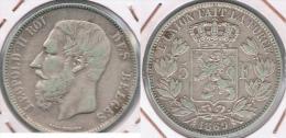BELGICA 5 FRANCS 1869 PLATA SILVER Y - 09. 5 Francos