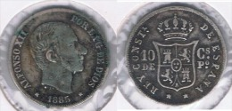 ESPAÑA FILIPINAS ALFONSO XII 10 CENTAVOS PESO 1885 PLATA SILVER  Y - Filipinas