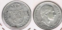 ESPAÑA FILIPINAS ALFONSO XII 20 CENTAVOS PESO 1885 PLATA SILVER Y - Filipinas