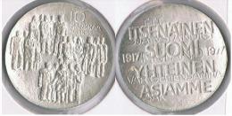 FINLANDIA 10 MARKA MARKKAA 1977 PLATA SILVER UNC SC Y - Finlandia