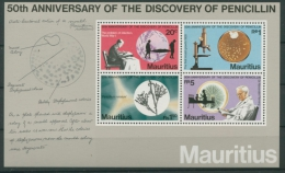 Mauritius 1978 Entdeckung Des Penicillins Block 7 Postfrisch (G20402) - Mauritius (1968-...)