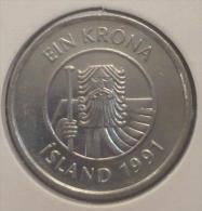 ICELAND-ISLANDA 1 KRONA 1991 PICK KM27a UNC - Iceland