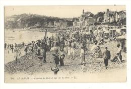 Cp,76, Le Havre, L'Heure Du Bain Et Vue Sur La Hève - Le Havre